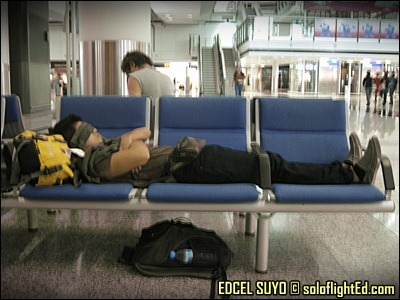 sleeping at airport