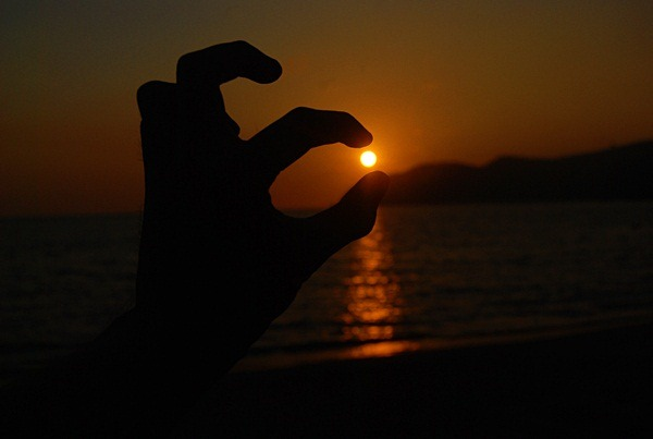 sunset hand