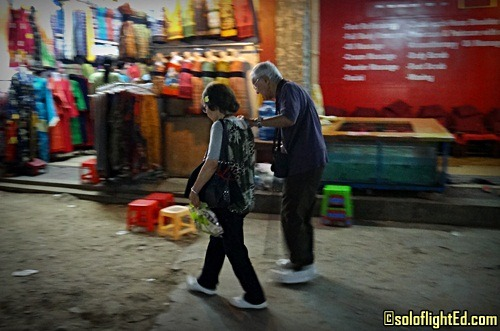 Old Tourist Couple in Siem Reap, Cambodia