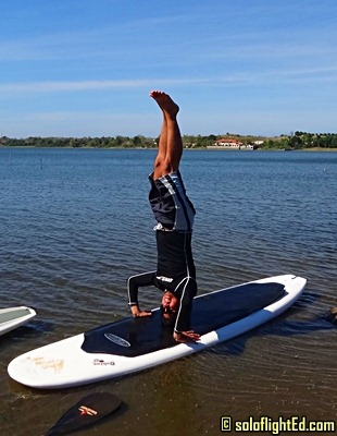 headstand paddleboard