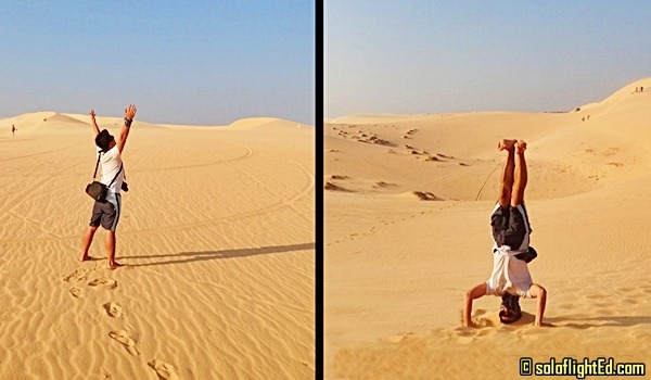 white sand dunes headstand