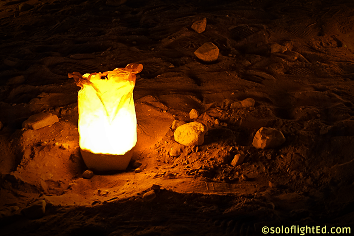 candle in petra night